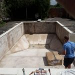 We use a lot of energy getting the old liner out and cleaning the pool shell ready for the lovely new liner.